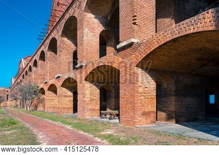 Key West, Usa - 05.01.2017: Brick Archway Of Old Military Fort In Florida. Large Brick Construction,