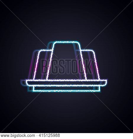 Glowing Neon Line Jelly Cake Icon Isolated On Black Background. Jelly Pudding. Vector