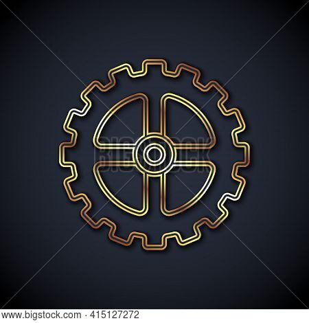 Gold Line Bicycle Sprocket Crank Icon Isolated On Black Background. Vector