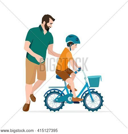 Caring Dad Teaching Son To Ride Bike For The First Time. Father Man Helping Boy Kid Riding Bicycle.