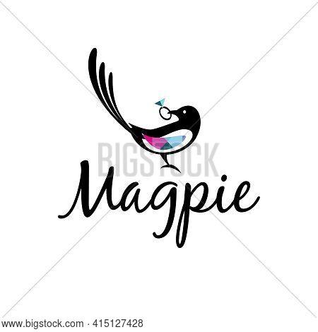 Magpie Bird Logo With Diamond Ring In Its Beak. For Branding Jewelry Store, Wedding, Kids Card. Vect