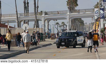 Oceanside, California Usa - 8 Feb 2020: American Police Department Patrol Car, Squad, Interceptor Or