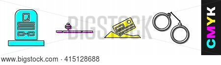 Set Tombstone With Rip Written, Opium Pipe, Cocaine And Credit Card And Handcuffs Icon. Vector