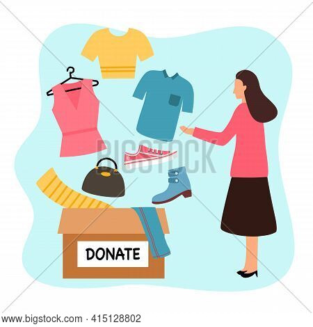 Sharing Clothes To People. Clothes Donation Concept. Woman Standing With Donate Box Of Clothes And A