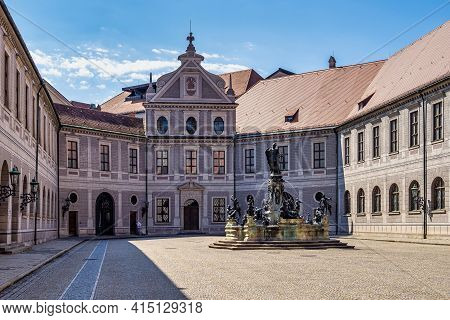 Munich, Germany - Jul 27, 2020: The Bronze Wittelsbach Fountain In The Residenz Palace Was Erected I