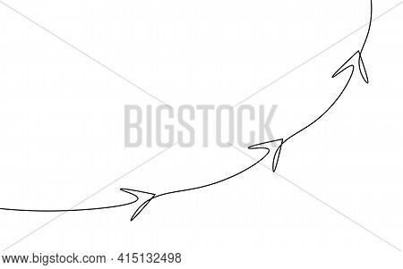 Single Continuous Line Art Arrows Up. Growing Profit Graph Economy Finance Concept Design. One Sketc