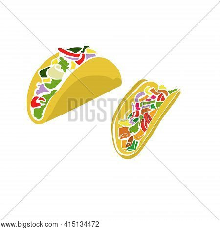 Tacos Food, Several Types Of Tacos In Flat Style, For Menu Or Poster Design Vector Illustration