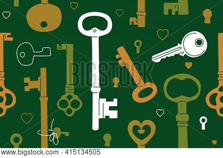 Lucky Keys Seamless Pattern Over Green Background. Various Colored Old Keys In Modern Flat And Line