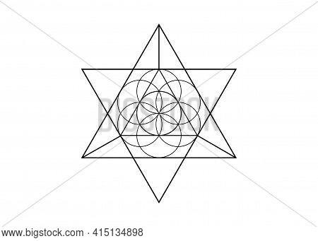 Flower Of Life Symbol Metatron Merkaba Sacred Geometry. Logo Icon Geometric Mystic Mandala Of Alchem