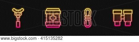 Set Line Climber Rope, Sausage On The Fork, First Aid Kit And Binoculars. Glowing Neon Icon. Vector