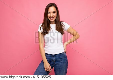Photo Portrait Of Young Beautiful Smiling Hipster Brunette Woman In White T-shirt With Mockup. Sexy