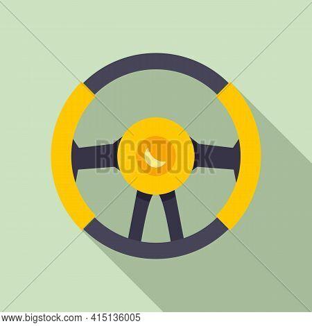 Leather Steering Wheel Icon. Flat Illustration Of Leather Steering Wheel Vector Icon For Web Design