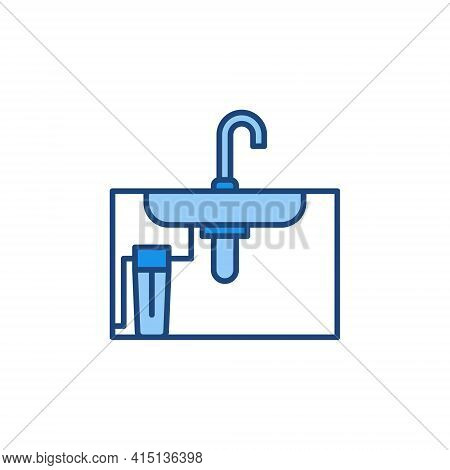 Main Water Filter Under The Sink Vector Colored Icon