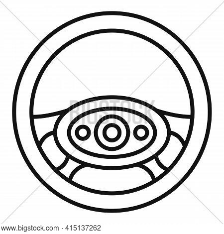 Shape Steering Wheel Icon. Outline Shape Steering Wheel Vector Icon For Web Design Isolated On White