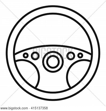 Metal Steering Wheel Icon. Outline Metal Steering Wheel Vector Icon For Web Design Isolated On White