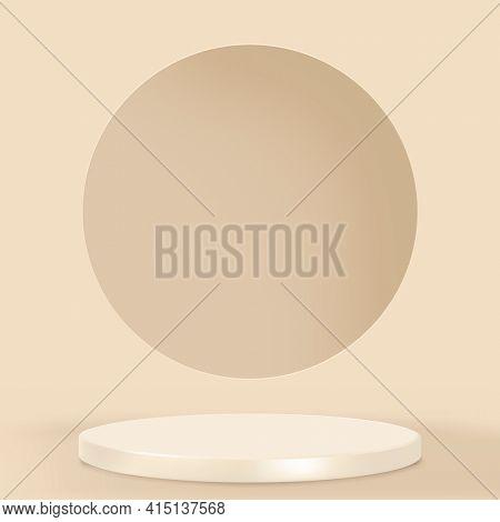 Display podium 3D rendering minimal brown product backdrop
