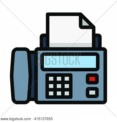 Fax Icon. Editable Bold Outline With Color Fill Design. Vector Illustration.