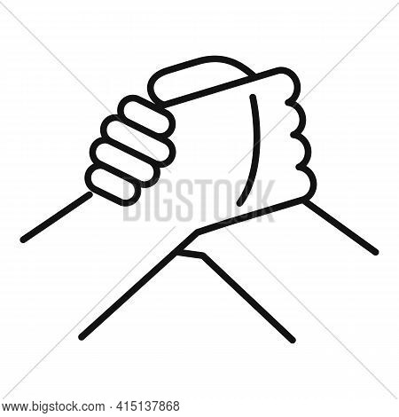 Arm Wrestling Hands Icon. Outline Arm Wrestling Hands Vector Icon For Web Design Isolated On White B