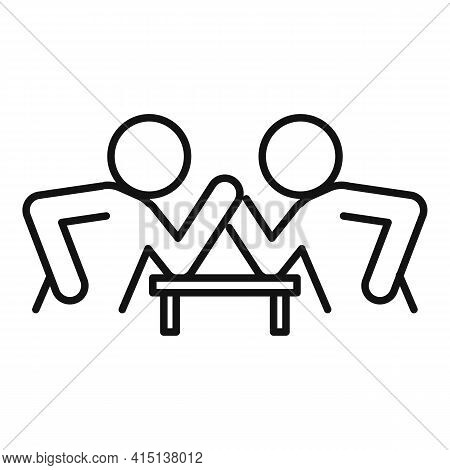 Table Arm Wrestling Icon. Outline Table Arm Wrestling Vector Icon For Web Design Isolated On White B