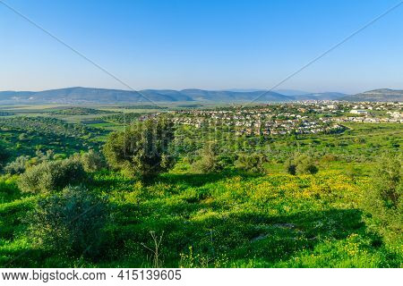 View Of Landscape And Countryside Of The Western Lower Galilee, From Tzipori, Northern Israel