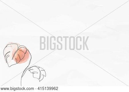 Textured background with monstera feminine line art illustration
