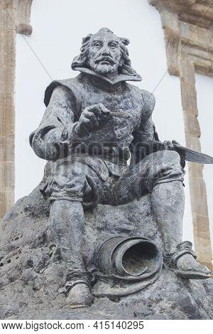Llerena, Spain - Jan 5th, 2021: Francisco De Zurbaran Bronze Sculpture Set At Llerena Plaza Of Spain