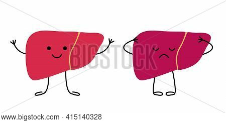 Liver Happy Healthy And Sad Suffering Sick Characters. Check Health Of Liver. Unhealthy Sad Liver, P