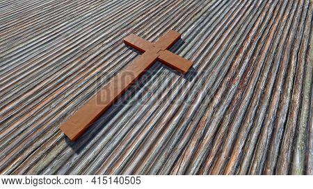 Concept or conceptual metal rusted cross on a natural wood or wooden logg background. 3d illustration metaphor for God, Christ, religious, faith, holy, spiritual, Jesus, belief, resurection