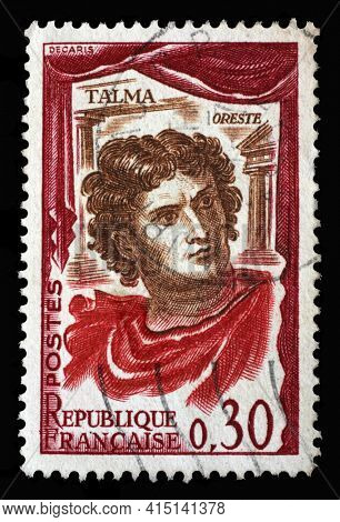 ZAGREB, CROATIA - SEPTEMBER 09, 2014: Stamp printed in the France shows French actor Francois Joseph Talma (1763-1826), famous French actor for classical tragedy, Famous actors series, circa 1961