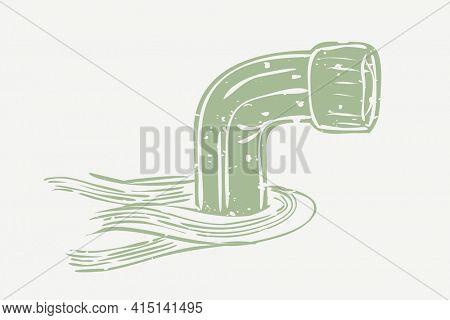 Muted green periscope in cartoon illustration