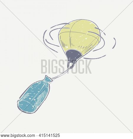 Buoy linocut in cute illustration