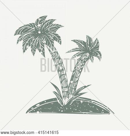 Muted green Island linocut in cute illustration