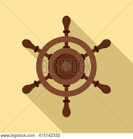 Marine Ship Wheel Icon. Flat Illustration Of Marine Ship Wheel Vector Icon For Web Design
