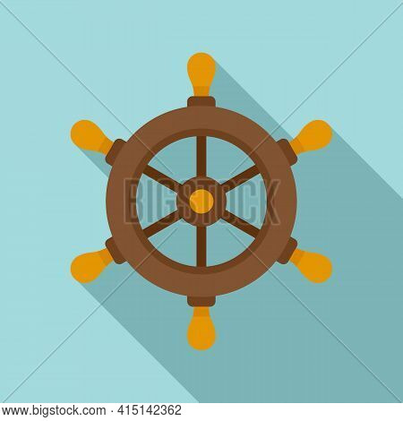 Navy Ship Wheel Icon. Flat Illustration Of Navy Ship Wheel Vector Icon For Web Design