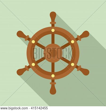 Adventure Ship Wheel Icon. Flat Illustration Of Adventure Ship Wheel Vector Icon For Web Design