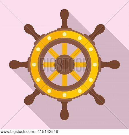 Captain Ship Wheel Icon. Flat Illustration Of Captain Ship Wheel Vector Icon For Web Design
