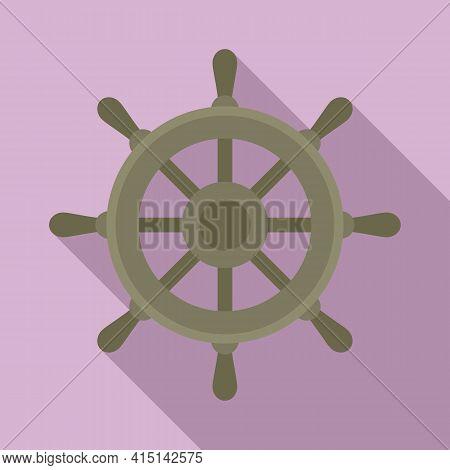 Yacht Ship Wheel Icon. Flat Illustration Of Yacht Ship Wheel Vector Icon For Web Design