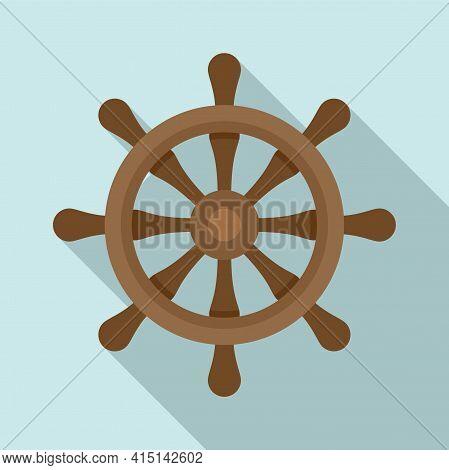 Nautical Ship Wheel Icon. Flat Illustration Of Nautical Ship Wheel Vector Icon For Web Design