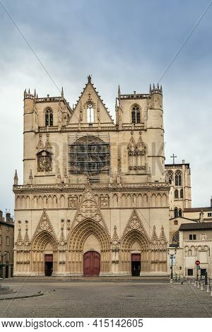 Lyon Cathedral Is A Roman Catholic Church Located On Place Saint-jean In Lyon, France