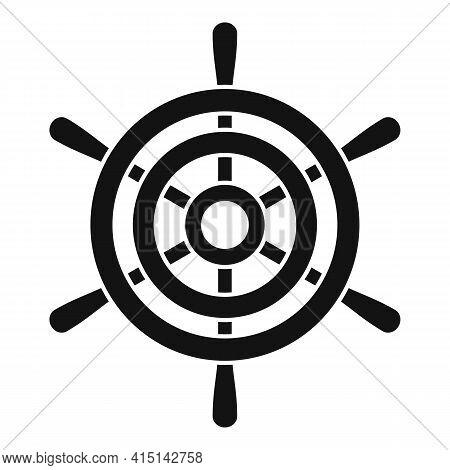 Steering Ship Wheel Icon. Simple Illustration Of Steering Ship Wheel Vector Icon For Web Design Isol