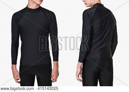 Teenage boy in rash guard and shorts for swimwear fashion shoot rear view