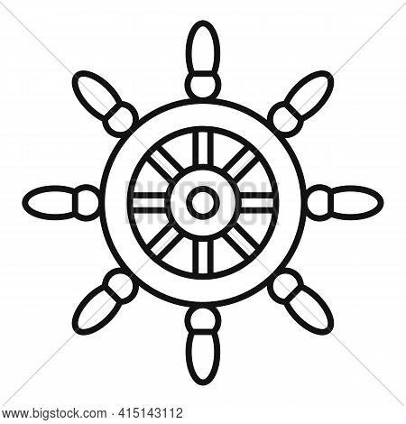 Sailboat Ship Wheel Icon. Outline Sailboat Ship Wheel Vector Icon For Web Design Isolated On White B