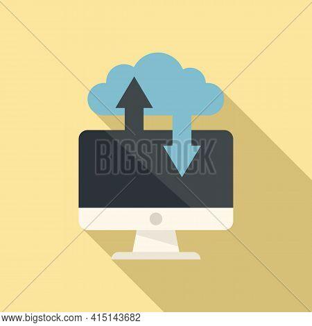 Remote Pc Data Cloud Icon. Flat Illustration Of Remote Pc Data Cloud Vector Icon For Web Design