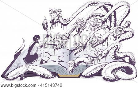 Hercules Sets Fire To Head Of Gorgon Medusa With Torch. Open Book Illustration