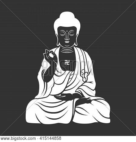 White Chinese Buddha, Buddhist Zen Drawing On Dark Background Vector Design