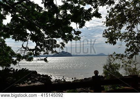 Hua Hin Beach In Sikao District, Trang, Thailand With Island And Sea View