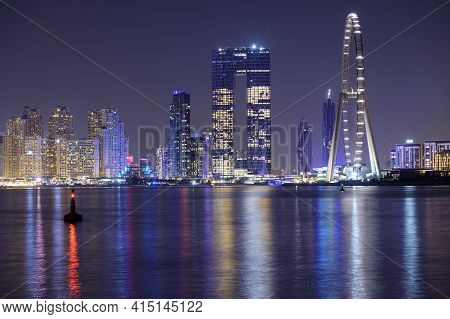 Dubai, Uae - October 28, 2020. Ain Dubai , Marina Night Scene With City Lights, Luxury New High Tech