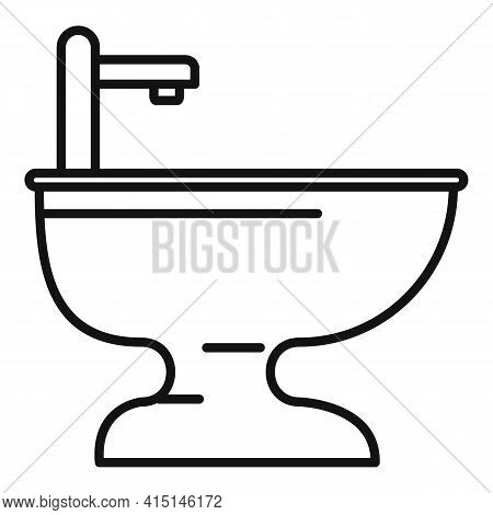 Domestic Bidet Icon. Outline Domestic Bidet Vector Icon For Web Design Isolated On White Background