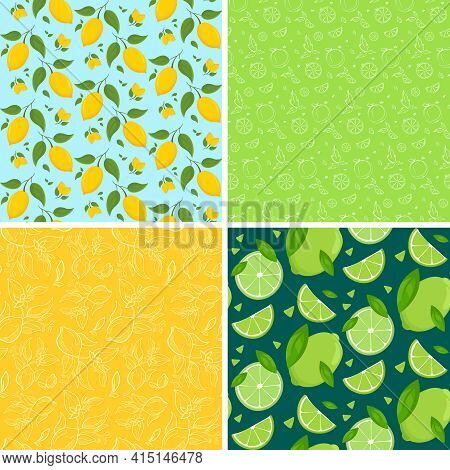 Set Of Seamless Patterns With Citrus Fruits. Beautiful Textures In Different Styles.