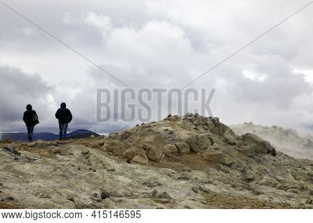 Hverir / Iceland - August 30, 2017: Tourists Walking At Hverir Geothermal And Sulfur Area Near Namaf